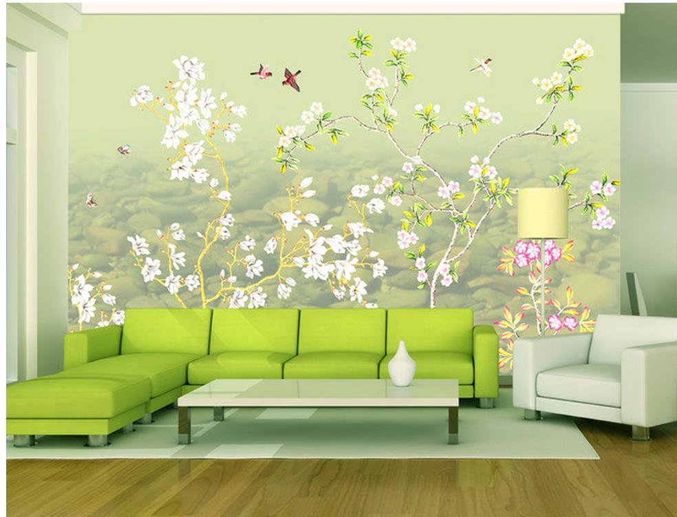 Home Decoration Hand painted flowers and birds wall mural ...