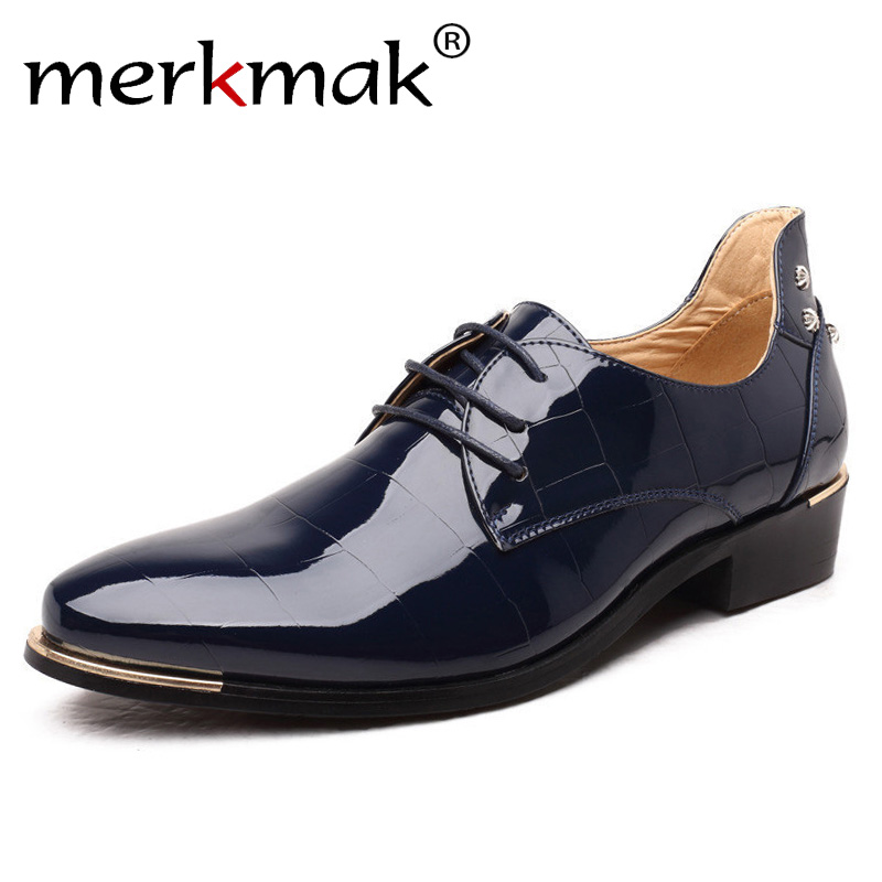Merkmak Men Oxford Shoes 2018 New Fashion PU Leather Lace-Up Business Men Shoes High Quality Men Dress Shoes Men Flats 2017 men flats fashion high quality genuine leather shoes men lace up business men shoes men dress shoes summer oxfords spring
