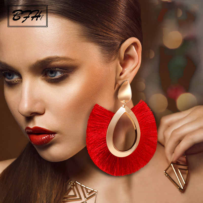 BFH Fashion Bohemian Big Tassel Earrings Statement Large Handmade Brincos Drop Dangle Tassel Earring for Women Za 2019 Jewelry