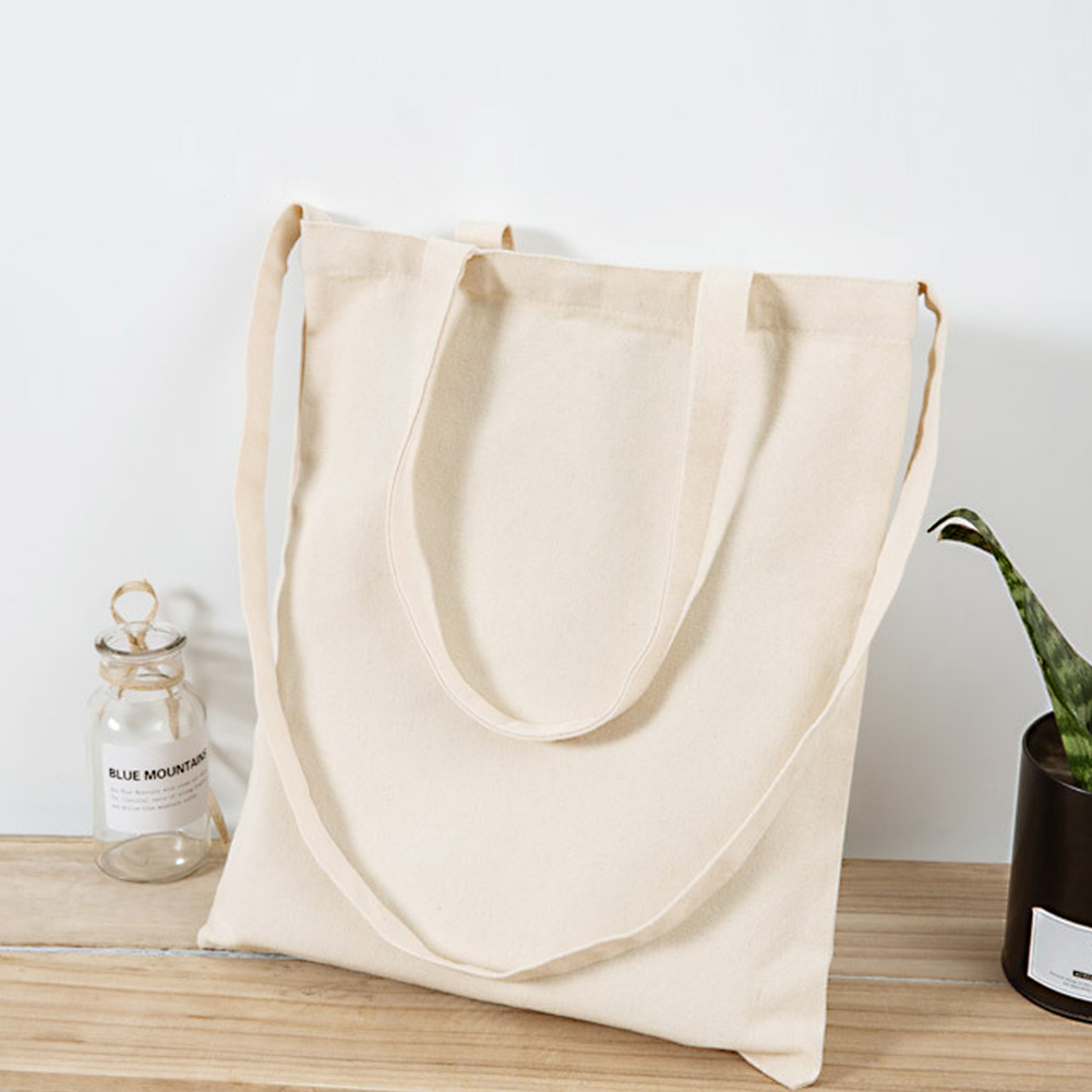 Women's Men's Reusable Shopping Bag Large Collapsible Canvas Tote Bag Eco Friendly Neutral Blank Canvas Shoulder Bag