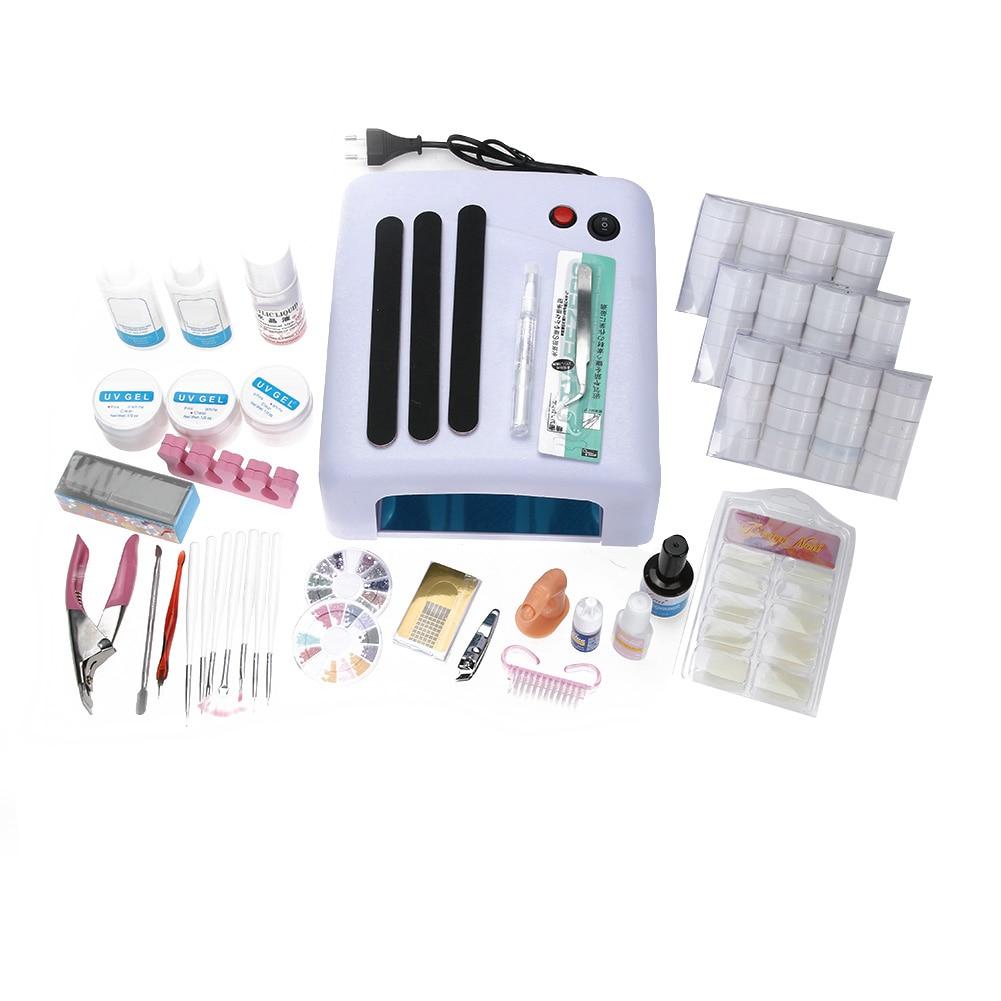 Здесь продается   Nail Art Set 36W Nail Dryer Shiny Powder Solid Manicure Tips Glitter Nail File Cuticle Pusher Acrylic Glue for False Nails   Красота и здоровье
