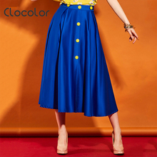 Clocolor Women Skirt 2017 New A-Line Fashion Cotton Blue Solid Mid-Waist Vacation Dating Beauty Skirt Summer Elegant Women Skirt(China)