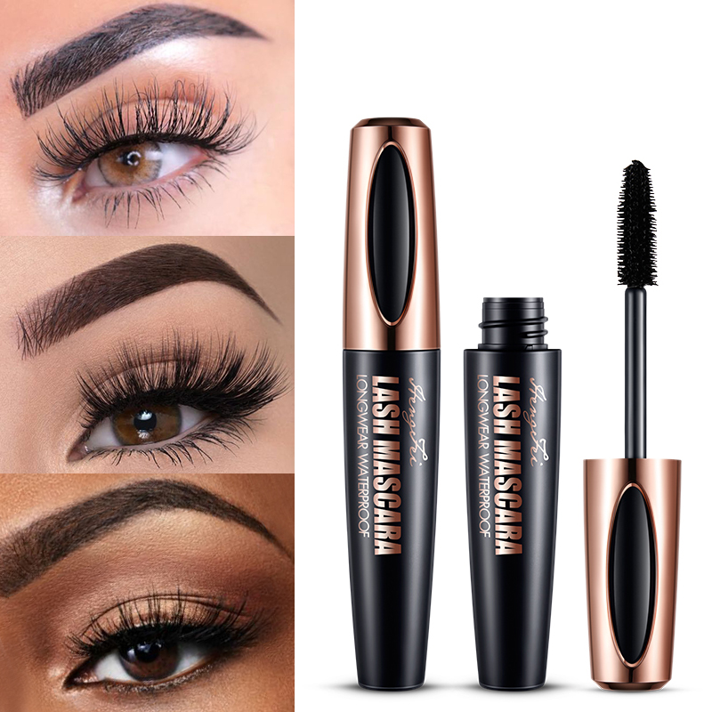 2019 black 4D silk fiber mascara waterproof 3D mascara thick black long makeup eyelashes