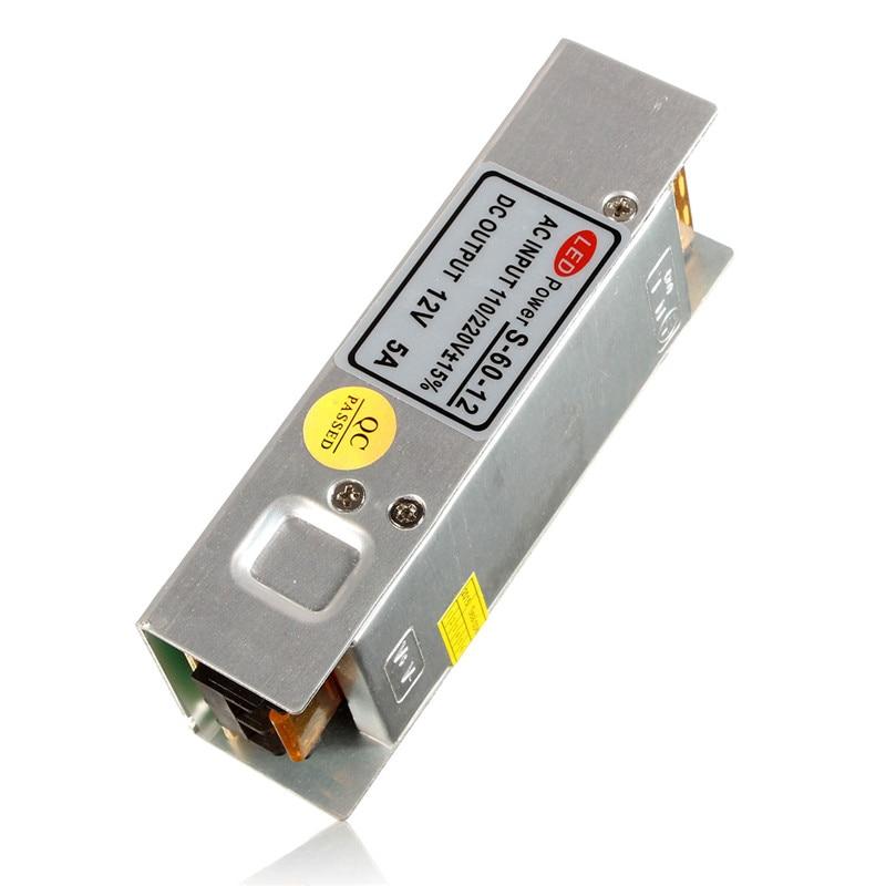 12 В 5A 60 Вт не Водонепроницаемый Трансформаторы светодиодный драйвер Питание коммутации полосы 3528 5050 Аксессуары к осветительным приборам