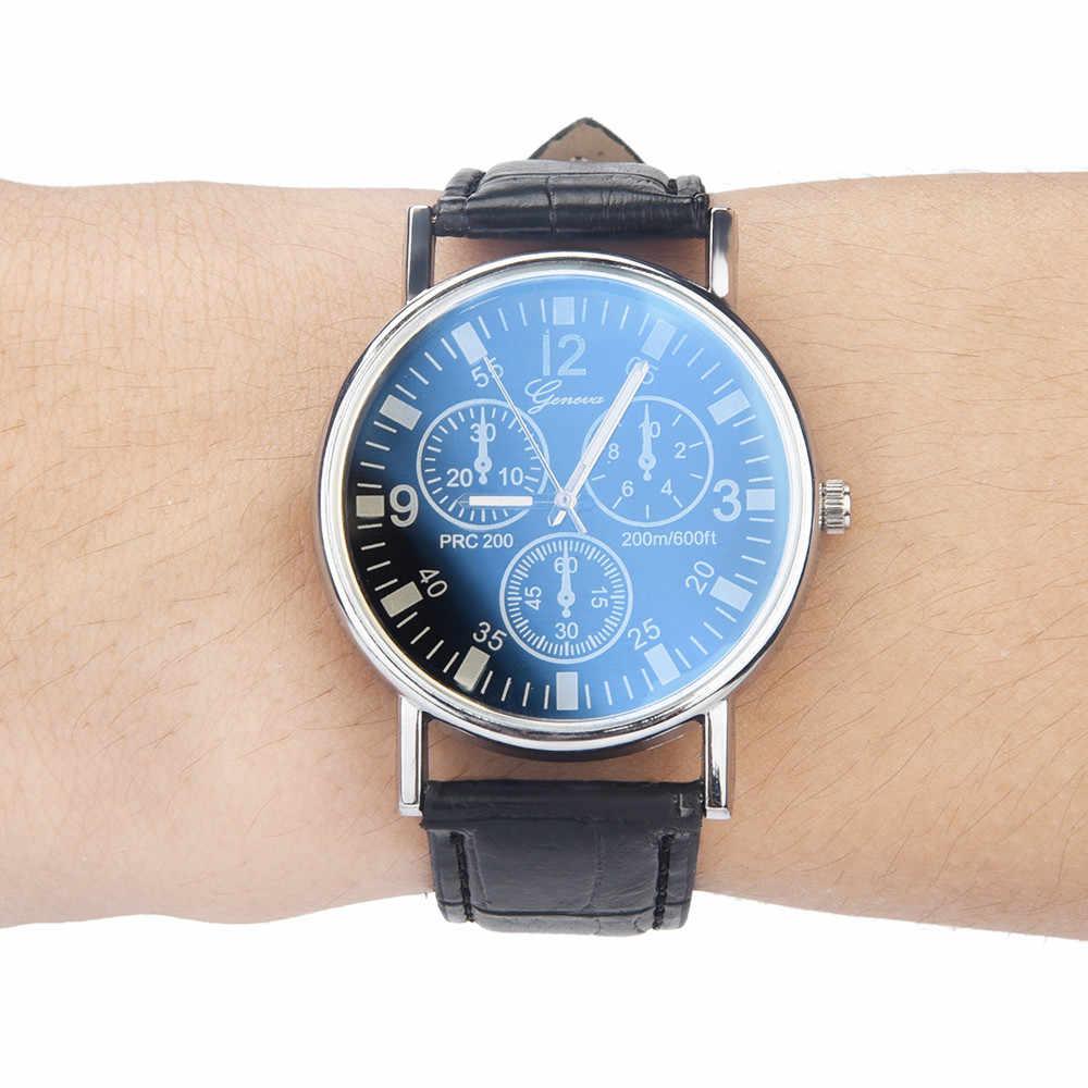 GEMIXI 2019 새로운 패션과 새로운 블루 레이 유리 시계 중립 석영 손목 시계를 시뮬레이션 톱 브랜드 남자 시계 relogio masculino