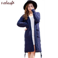 Fdfklak Новый Для женщин Демисезонный свитер 2017 длинный кардиган корейский Свободный кардиган вязаный белый/синий теплый джемпер, свитер q490