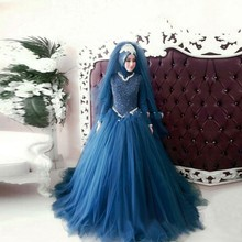 Robe De Mariage Blue Ball Gown Wedding Dresses High Neck Long Sleeve Lace Tulle Appliques Muslim Bridal Gowns With Hijab Custom