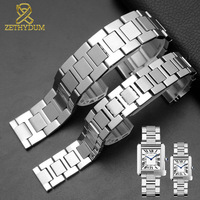 Stainless bracelet steel solid metal watchband 16mm 17.5mm 20mm 23mm for TANk SOLO watch band couples Watch strap