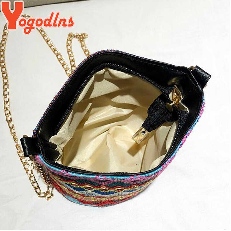 Yogodlns Hot Sale desinger bolsa de palha cadeia verão escavar bolsas para senhoras saco de qualidade Chinês festival do feriado sacos mulher