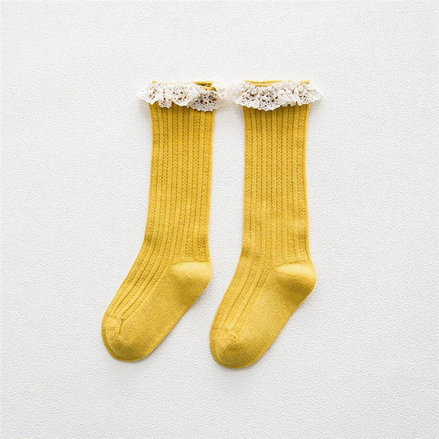 Cotton Knee High Winter Socks for Girls with Ruffled Decor