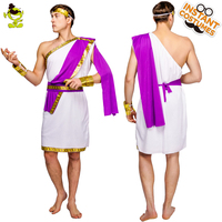 QLQ Adult Men's Roman Costume Role Play Traditional Roman Clothes Purple &White Color Cosplay Roman Carnival Party