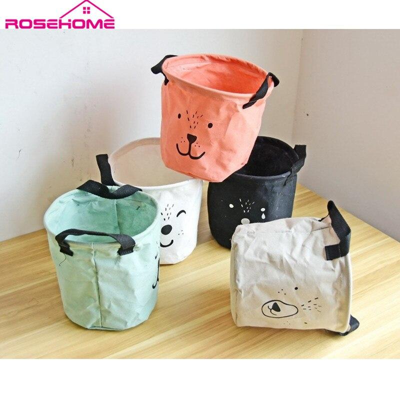 ROSEHOME Cartoon Office Organizer Skládací úložný kbelík Zvířecí tvář Skladovací koše Kosmetika Desktop Debris Storage Basket
