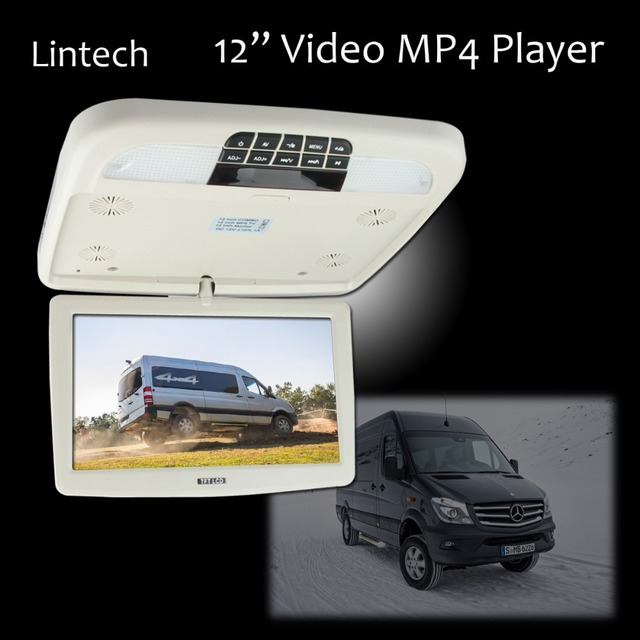 12 1366p Overhead Flip Down Lcd Monitor Mp4 Player Car Video Entertainment System