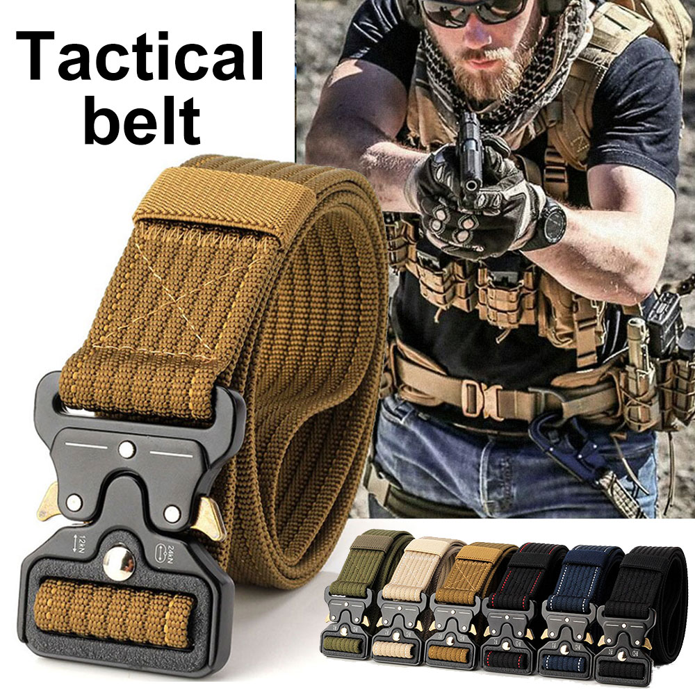 Military Equipment Tactical Belt Mens Heavy Duty Buckle Belt Knock Off Army Waist Belts Multifunctional Belts image