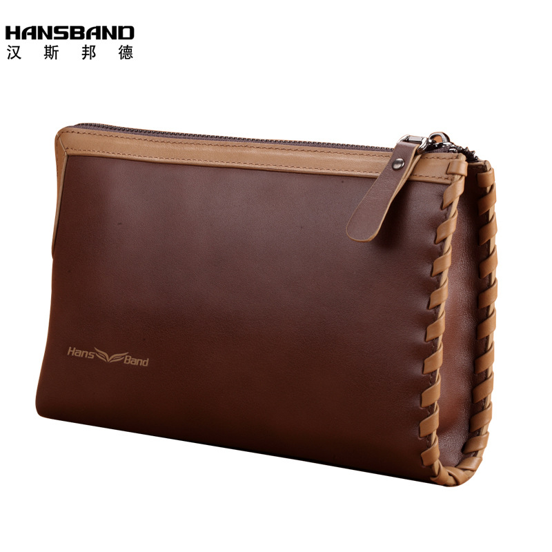 Hansband Men Wallet Fashion Genuine Leather Bag Handbags Zipper Men Clutch Bags Brand Hand Bag Luxury Business Long hansband luxury brand men clutch wallet genuine leather hand bag classic multifunction mens high capacity clutch bags purses