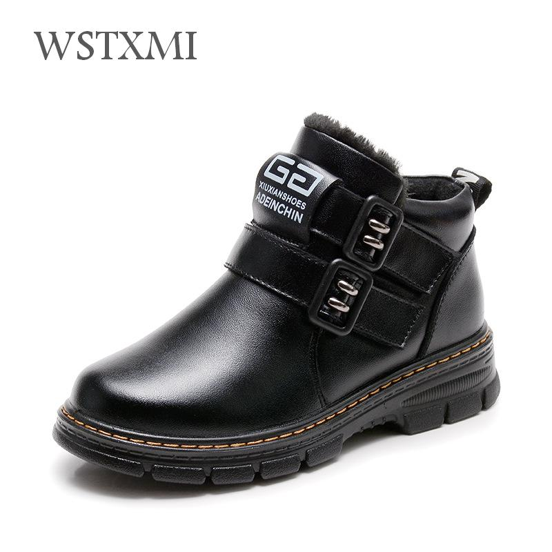 New Winter Martin Boots for Boys Genuine Leather for Kids Shoes Fashion Mid-Calf Snow Boots Plush Warm Waterproof Children BootsNew Winter Martin Boots for Boys Genuine Leather for Kids Shoes Fashion Mid-Calf Snow Boots Plush Warm Waterproof Children Boots