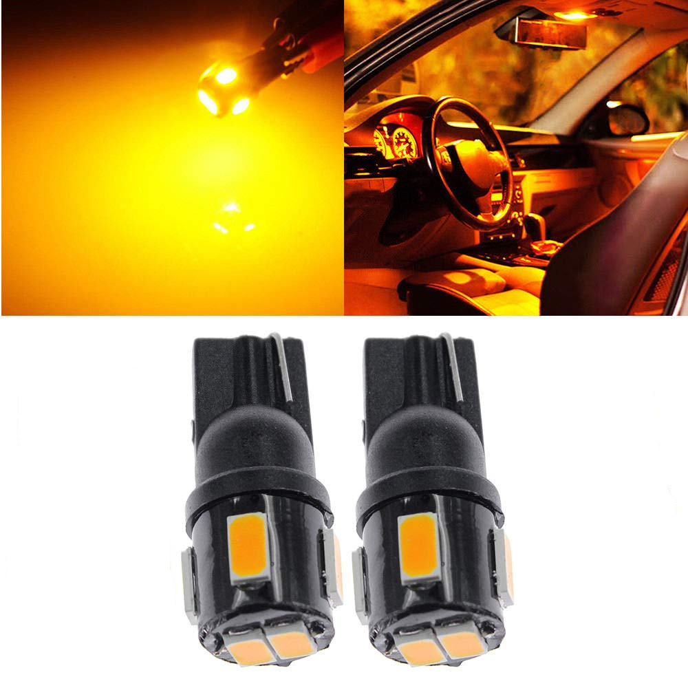1 Pair Car LED Lights Amber Orange Yellow T10 W5W 6LEDS Bulbs Car 6PCS 5630 LED CHIPS Door Side Wedge Light Lamps 12V 2019 New