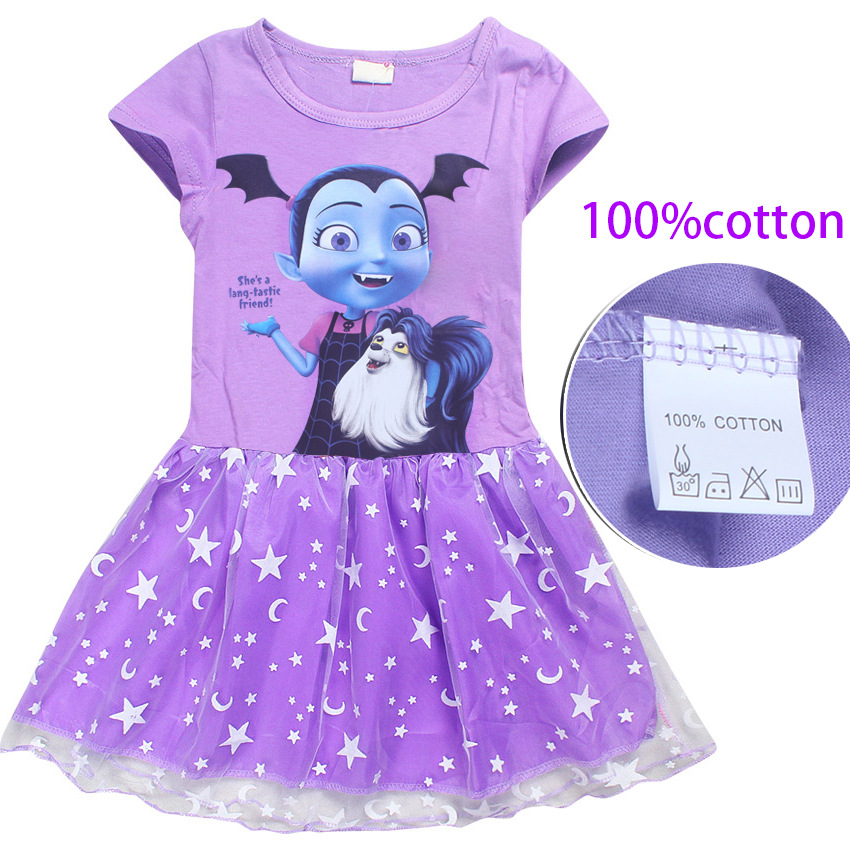 Summer cartoon baby dresses for girls Vampirina kids clothing princess dress birthday party clothes children cotton dress in Dresses from Mother Kids