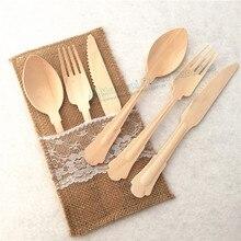 Free Ship 600pcs Wooden Taster Spoons Eco-friendly Delicate Knife Birthday Dessert Forks Utensil for Wedding Baby Shower