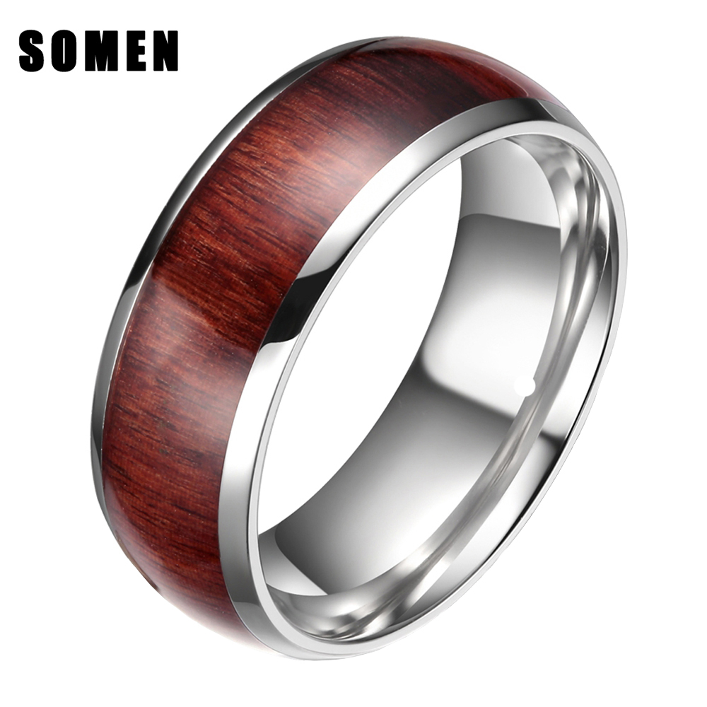 8mm men wood inlay ring engagement wedding band mahogany wooden inlay ring comfort fit fashion jewelry - Wooden Wedding Rings For Men