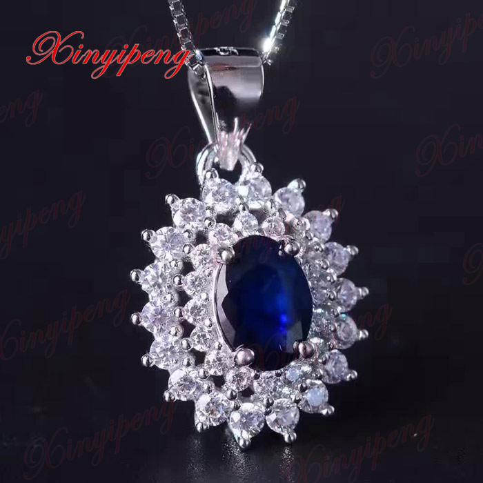 925 sterling silver with 100% natural Female sapphire pendant necklace Fashion Fine jewelry Personality and generous1 carat/grai925 sterling silver with 100% natural Female sapphire pendant necklace Fashion Fine jewelry Personality and generous1 carat/grai
