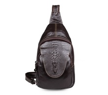 7301Q Free Shipping Genuine Leather Chest Bag Alligator Pattern Vintage Mens Funny Pack
