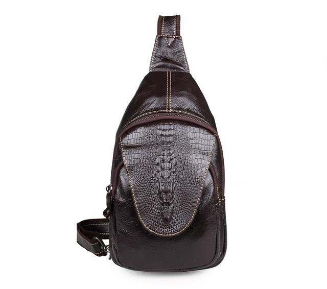 7301Q envío gratis cuero genuino del bolso del pecho del patrón del cocodrilo para hombre divertido paquete