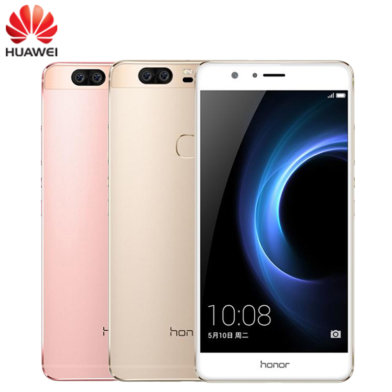 Original Huawei Honor V8 Cell Phone 4GB RAM 64GB ROM Kirin 950 Octa Core 5.7″ Screen EMUI 4.1 OS 2*12MP Camera 4G LTE Smartphone