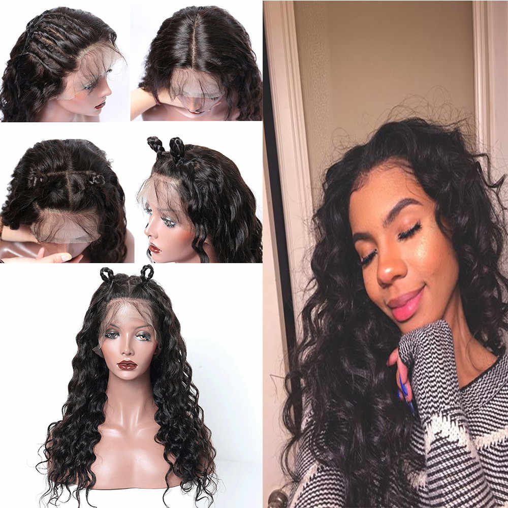 0937819ff SALE Korea Fashion Silk Long Wavy Curly Wig Glueless Full Wigs Black Women  Indian Remy Human