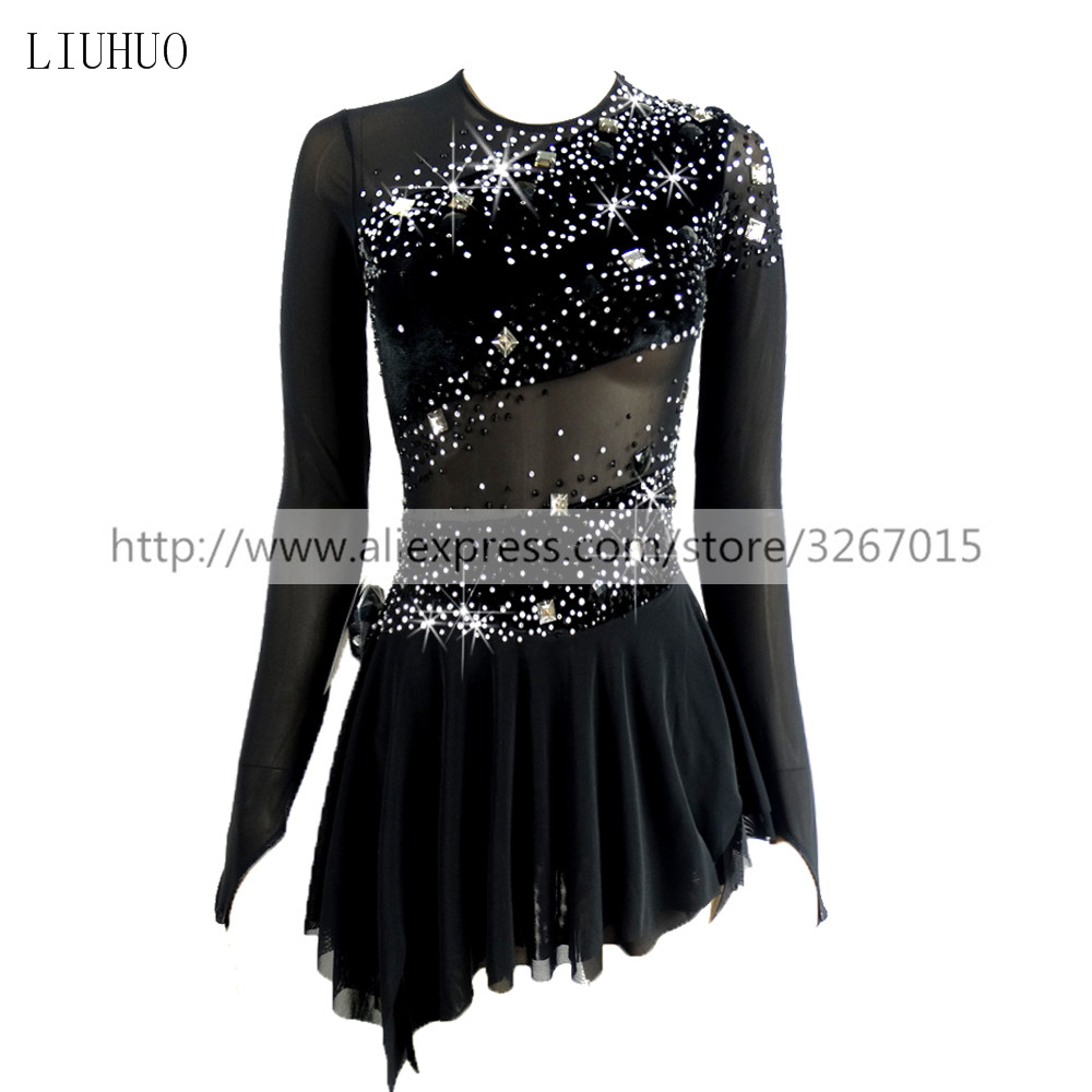 Figure Skating Dress Women's Girls' Ice Skating Dress Competitive Performance Clothing Round Neck Long Sleeve Black Backless