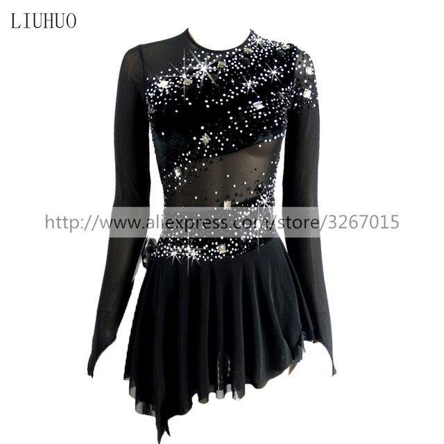 Платье для фигурного катания, женское платье для катания на коньках для девочек, одежда для конкурентоспособных представлений с круглым вырезом и длинным рукавом, черное платье с открытой спиной