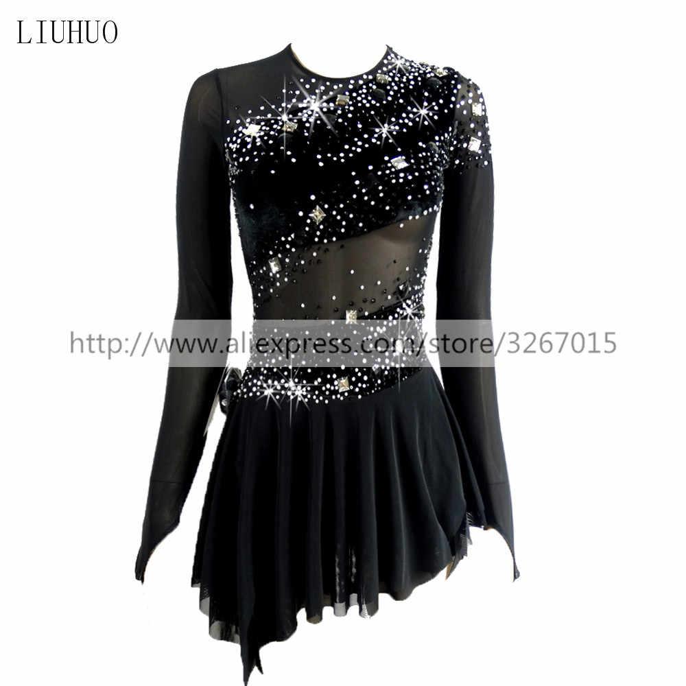 Платье для фигурного катания, женское платье для катания на коньках для девочек, конкурентная одежда для выступлений, круглый вырез, длинный рукав, Черная открытая спина