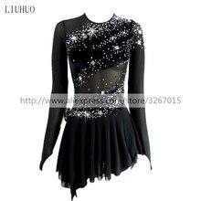 Vestido de patinaje artístico para mujer y niña, ropa de rendimiento competitivo, cuello redondo, manga larga, negro, sin espalda