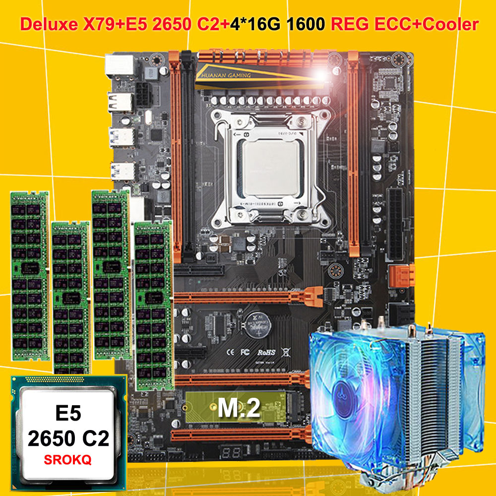 Destaque HUANAN ZHI deluxe X79 LGA2011 motherboard CPU RAM Xeon E5 2650 C2 combo com RAM cooler 64G (4*16G) DDR3 1600 ECC REG