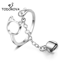 Todorova Fashion Cute Hollow Cat Adjustable Ring With Bell Pendant Charm Chain Rings for Women Girl Lovely Animal Jewelry Gift