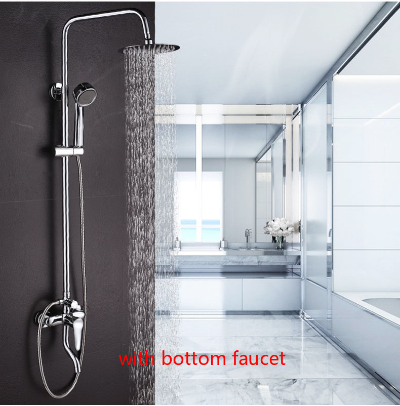 Dofaso bath shower set stainless rain bathroom shower faucet large area water jet top spray and ABS handheld shower