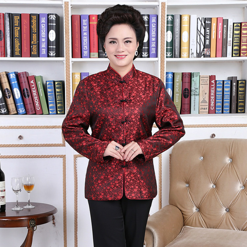 Longevity Elderly Clothes Lovers Dress Traditional Chinese Garments Male Clothing Tang Suit For Women Silk Shirts Long Sleeve