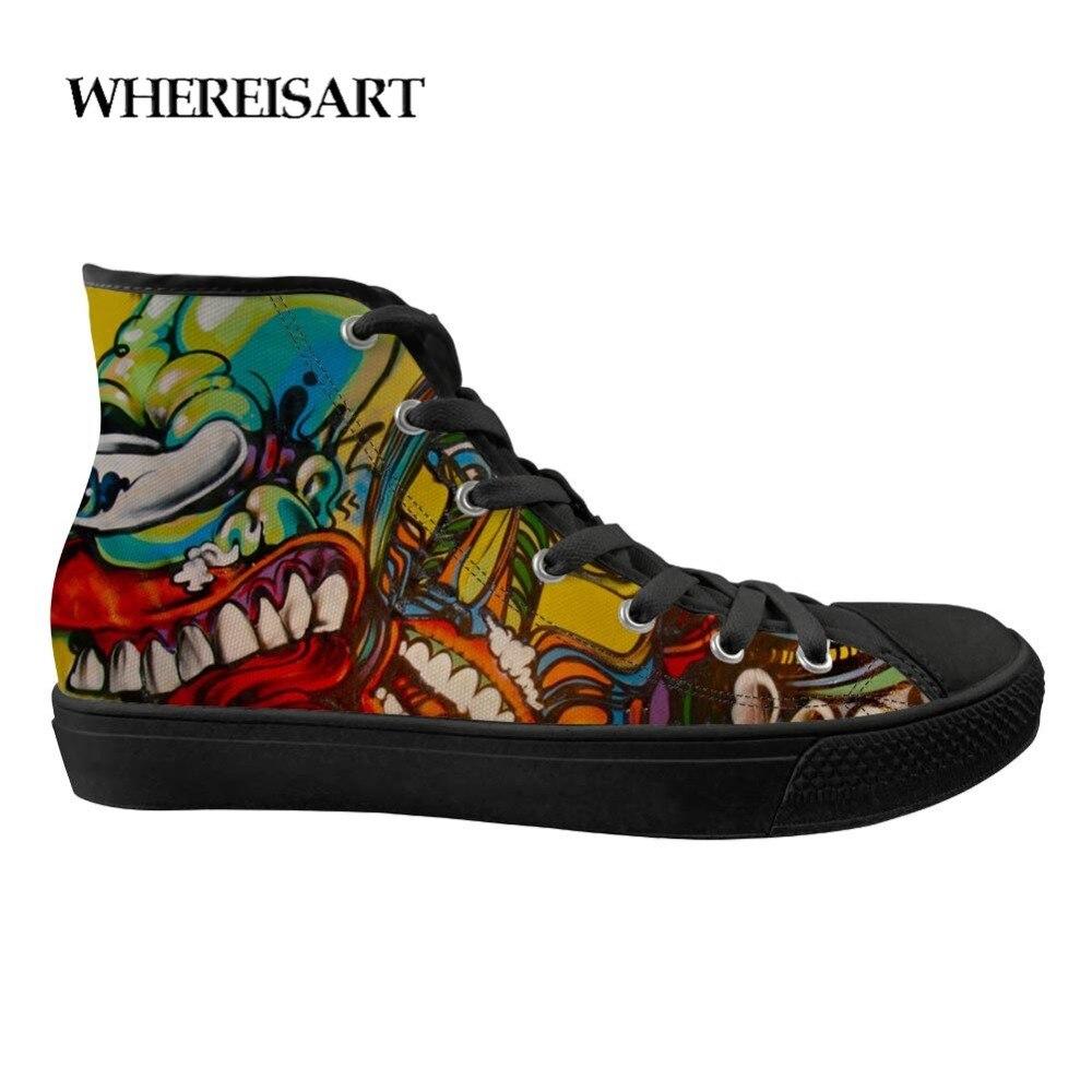 WHEREISART Hommes Graffiti Impression Haute-semelle de chaussures vulcanisées lacet de mode Sneakers chaussures de toile Haute Classique Zapatos Hombre