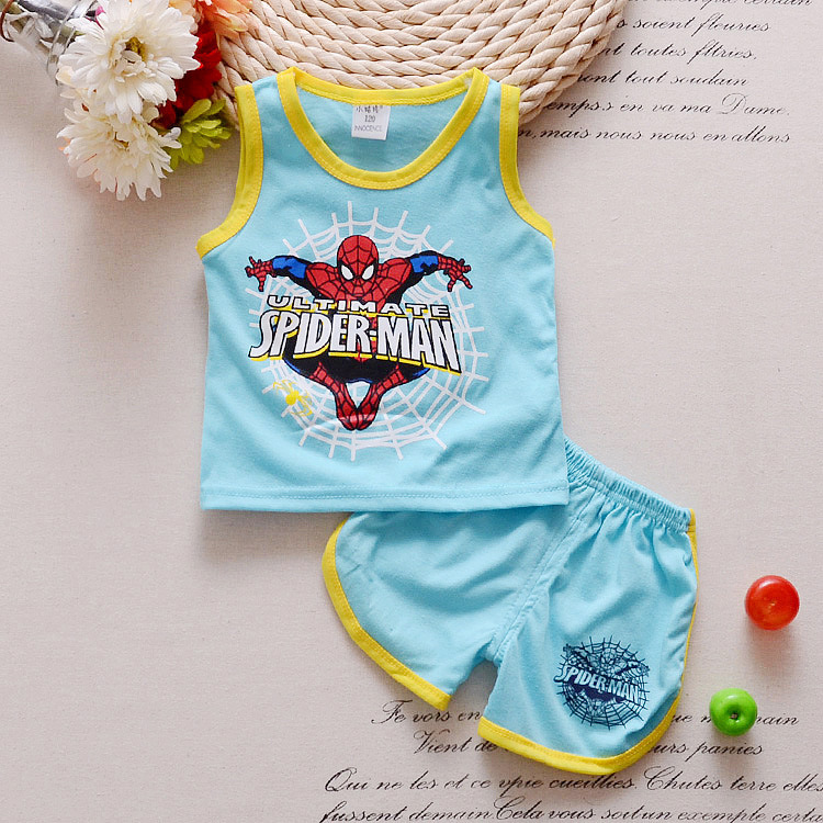 Cotton Baby Boys Suit Summer Sleeveless Vest Shorts 2pcs Suit Toddler Set 2018 Clothing Kids Bobo Bebe Toddler 0-18month 2017 new pattern small children s garment baby twinset summer motion leisure time digital vest shorts basketball suit