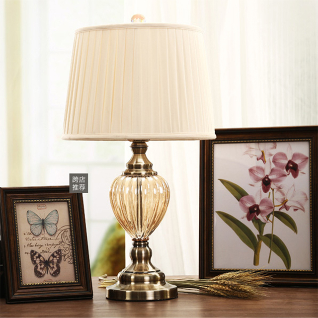 glass bedside table lamps crystal vintage desk lamp american antique wrought iron glass crystal bedside table lamps bedroom living room