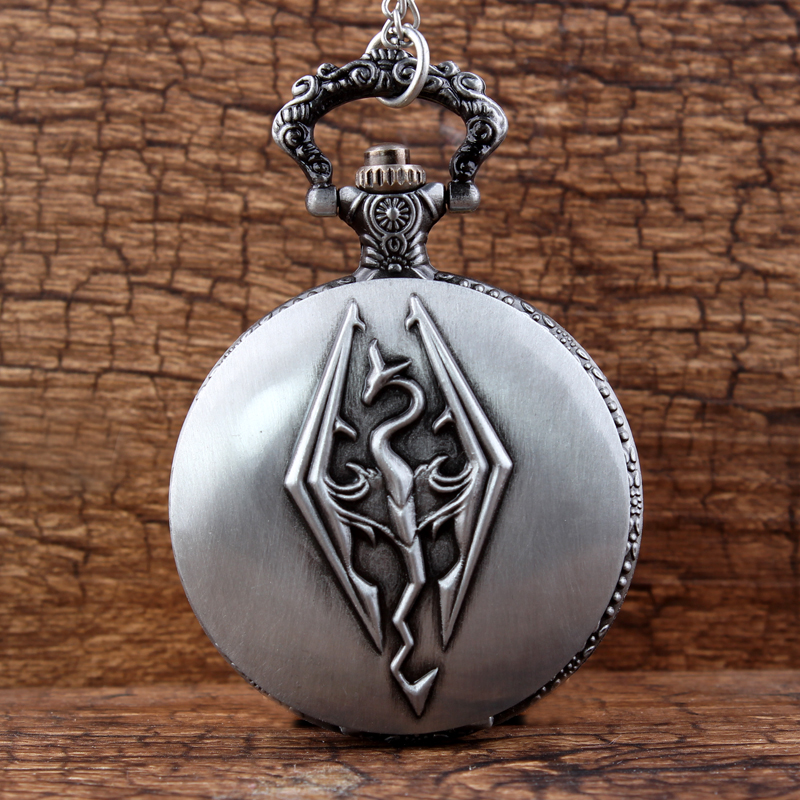 Unique Chinese Fireball Design Watches Women Necklace Chain Liondragon Style Mens Womens Silver Alloy Quartz Pocket Watch Gifts