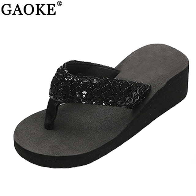 81ca314de8cfc7 New Ladies Womens Girls Sequin Flatform Wedge Flip Flops Shoes Beach  Sandals Comfortable black
