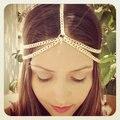 2015 moda ouro cabeça cadeia Pieces mulheres Boho Headpiece Headband cabelo corrente de Metal cabeça liga cabelo de jóias por atacado