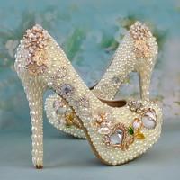 Women Wedding Shoes White Crystal Pearl Rhinestone High Heels Women's Pumps Platform Shoes Woman Elegant Bridal Shoes Ladies Sho