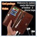 ND08 couro genuíno 2 sacos de telefone com slot para cartão e carteira para samsung galaxy telefone c9 pro c9100 case livre grátis