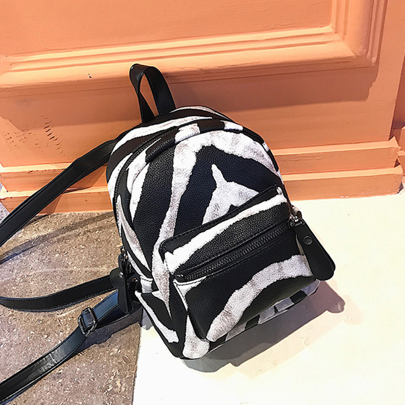 Zebra Pattern Small Backpacks Women PU Leather Backpack Kids Back Pack Travel Chain Plush Bags Winter Bag Sac