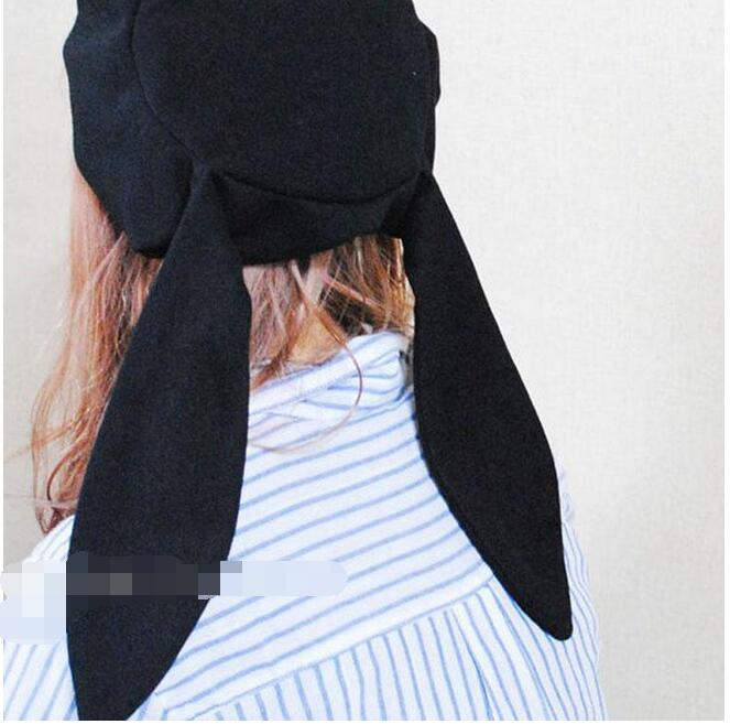 1 piece black Animal Warm Chic Soft Fluff Rabbit Ear eye Hat Long Hooded with bow in Women 39 s Berets from Apparel Accessories