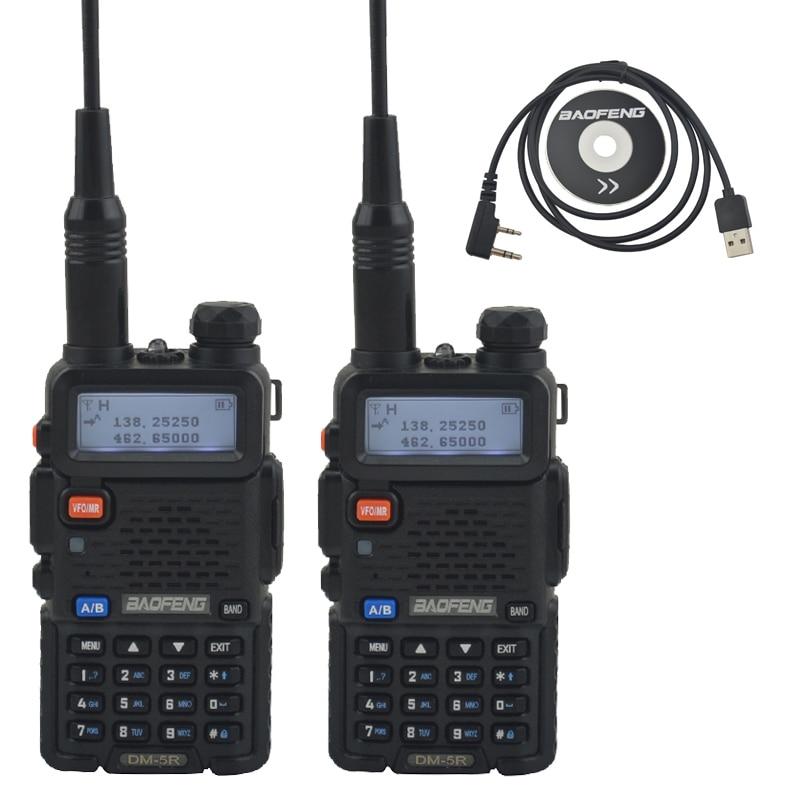 2pcs DM 5R baofeng 2nd Generation DMR Digital Radio VHF/UHF Dual Band DMR Tier I&II FM Walkie Talkie +1pcs USB programming cable