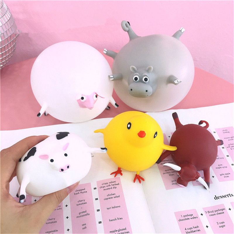 11 Styles Funny Novelty TPR Blowing Animal Squeeze Anti-stress Practical Jokes Gag Inflatable Games Ball Toys For Children