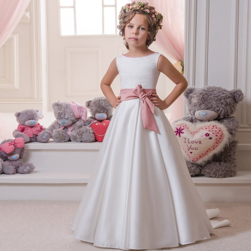 White First Communion Dresses Formal A-line Long Sleeve O-Neck Flower Girl Dresses with Bow Sash Vestidos De Comunion Para Ninas hot flower girl dress white a line bow sash sleeveless solid o neck girls first communion dress hot sale vestido de comunion
